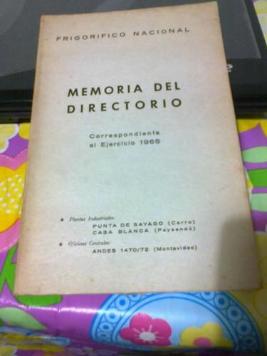 memoria del directorio de frigorifico nacional 1965