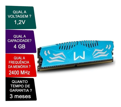 memória dimm gamer warrior 4gb pc4-19200 multilaser mm417