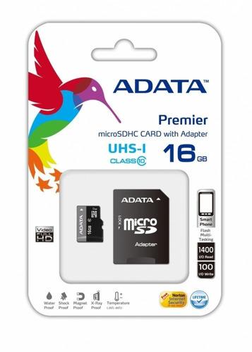 memoria flash adata 16gb microsdhc uhs-i clase 10 con adapta