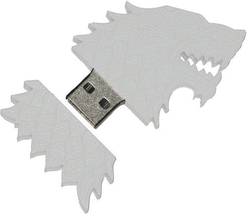 memoria flash de 4 gb, diseño lobo huargo juego de tronos