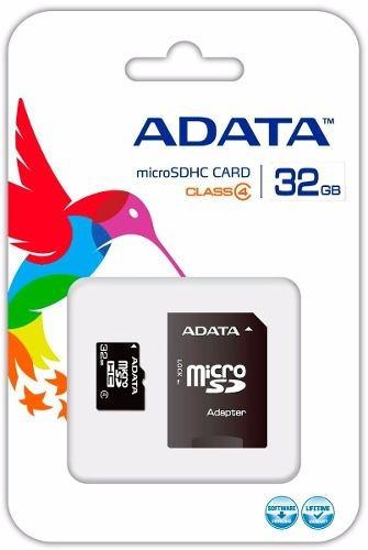 memoria flash microsdhc adata 32gb clase 4 adaptador celular