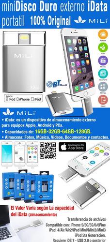 memoria flashdrive iphone 6 5 ipad original mili idata 32 gb