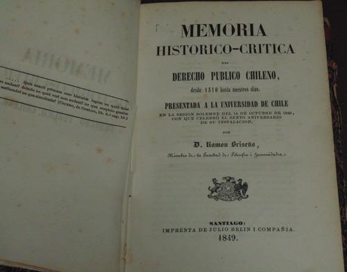 memoria histórico critica del derecho publico chileno