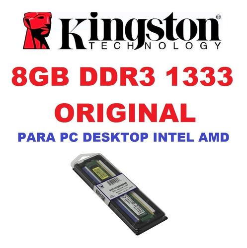 memória kingston ddr3 8gb 1333 mhz desk 16 chip intel amd