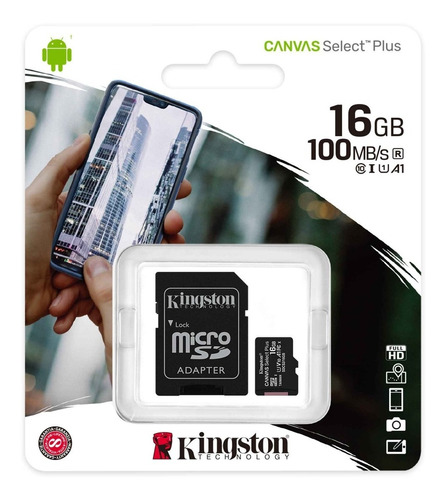 memoria kingston micro sd 16gb canvas select plus 100mbs a1
