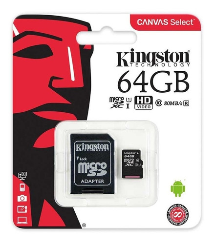 memoria kingston micro sd 64 gb c 10 80 mb/seg sdcs/64gb