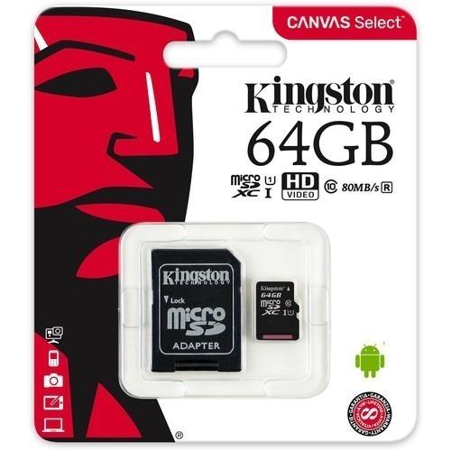 memoria kingston micro sd 64gb cancas select nueva original