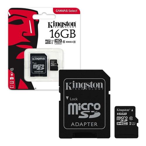memoria kingston micro sd + sdhc 16gb clase 10 80mb/s canvas