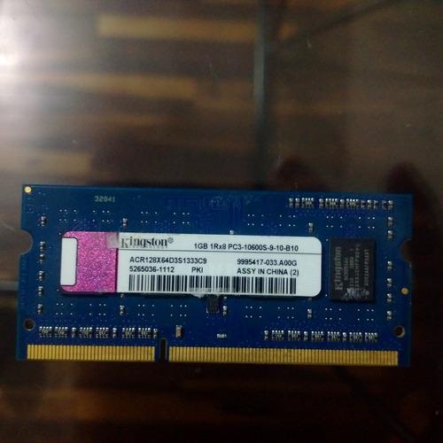 memoria laptop sodimm kingston 1gb ddr3 10600s 1333mhz