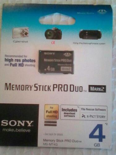 memoria memory stick pro duo 4gb sony