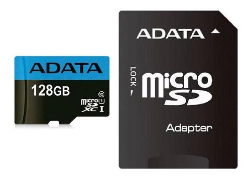 memoria micro sd 128gb adata cl10 adaptador premier 100mb/s