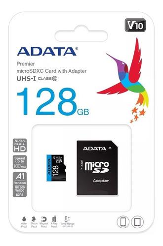 memoria micro sd 128gb clase 10 adata adaptador 100mb/s v10
