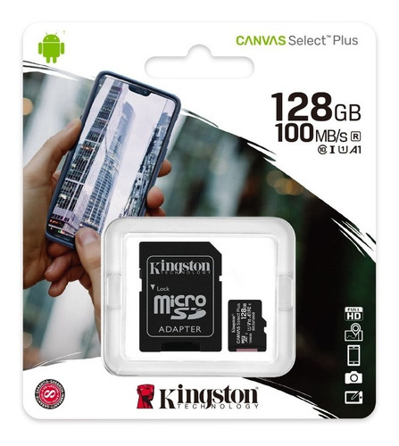 memoria micro sd 128gb clase 10 kingston 100mb/s