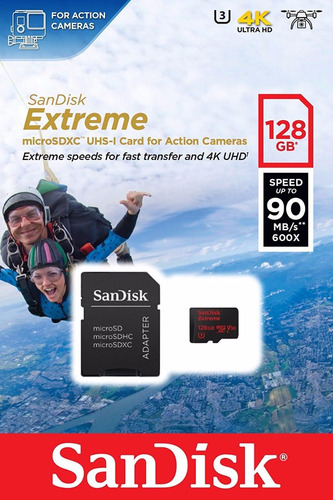 memoria micro sd 128gb sandisk extreme clase 10 ultra 3 667x