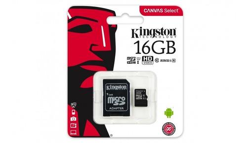 memoria micro sd  16 gb  80r uhs-i clase10 kingston sd
