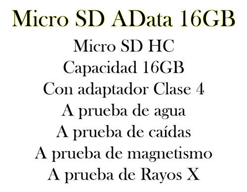 memoria micro sd 16gb adata con adaptador bagc