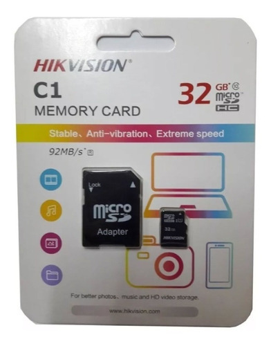 memoria micro sd 16gb clase 10 c/a hikvision c1/16g pc