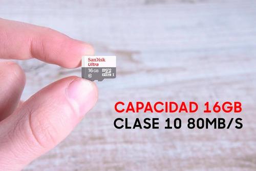 memoria micro sd 16gb sandisk ultra 80mb/s full hd clase 10 blister cerrado + adaptador notebook celular tablet parlante