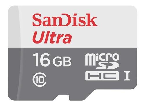 memoria micro sd 16gb sandisk ultra clase 10 full hd 80mb/s