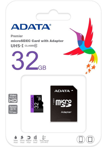 memoria micro sd 32gb adata clase10 full hd ausdh32guicl10-r
