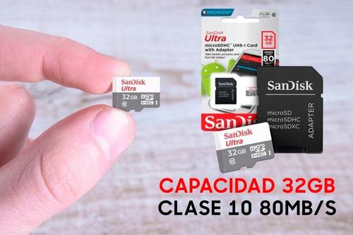 memoria micro sd 32gb cl10  sandisk ultra clase10 full hd original blister cerrado celular tablet camara + adaptador