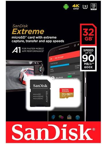 memoria micro sd 32gb sandisk clase 10 graba 4k full hd go pro