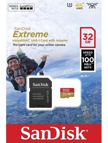 memoria micro sd 32gb sandisk extreme clase 10 100mb/s u3 4k