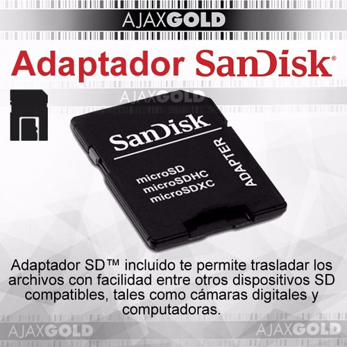 memoria micro sd 32gb sandisk ultra clase 10 full hd c/adapt