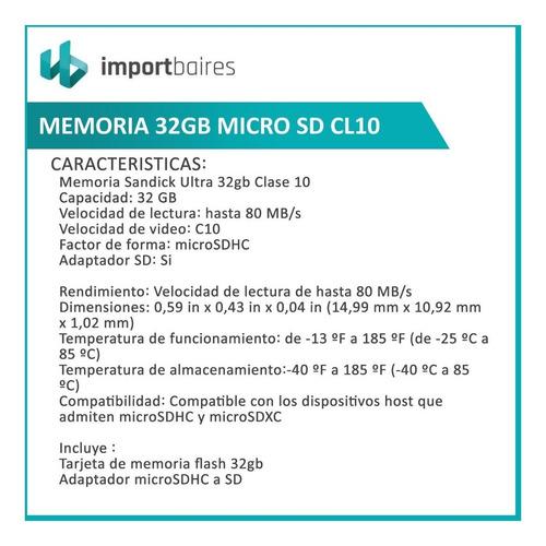 memoria micro sd 32gb sandisk ultra clase10 full hd original blister cerrado celular tablet notebook camaras auriculares