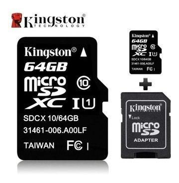 memoria micro sd 64 gb clase 10 kingston original nuevo