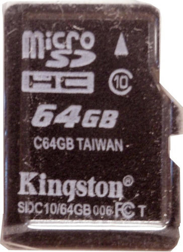 memoria micro sd  64 gb con adaptador kingston e6063