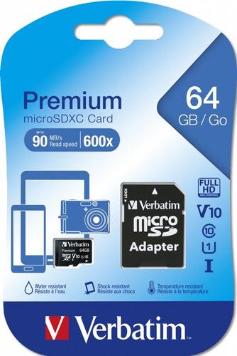 memoria micro sd  64 gb verbatim  clase 10 90mb 600x