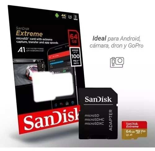 memoria micro sd 64gb 10 4k a1 u3 v30 sandisk extreme 100mb.