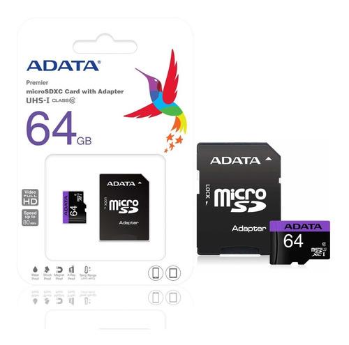 memoria micro sd 64gb adata clase 10 video full hd adaptador