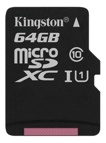 memoria micro sd 64gb clase 10 80mb/s kingston sdcs/64gb