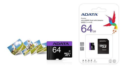 memoria micro sd 64gb clase 10 adata premier 80mb/s