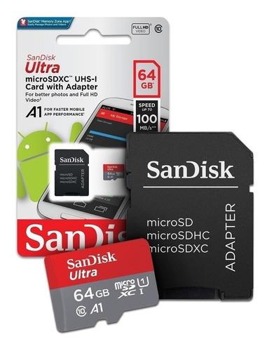 memoria micro sd 64gb clase 10 full hd sandisk diginet