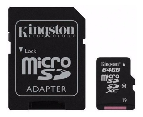 memoria micro sd 64gb clase 10 kingston sdxc 80mbs !!