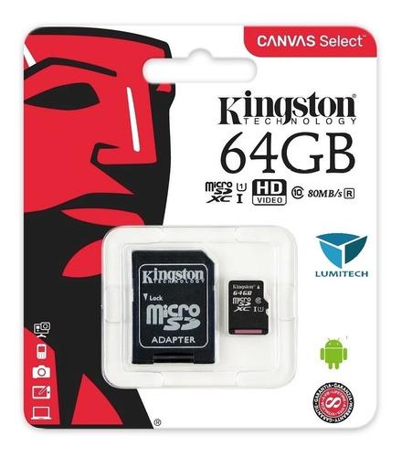 memoria micro sd 64gb clase10 kingston para celular canvas