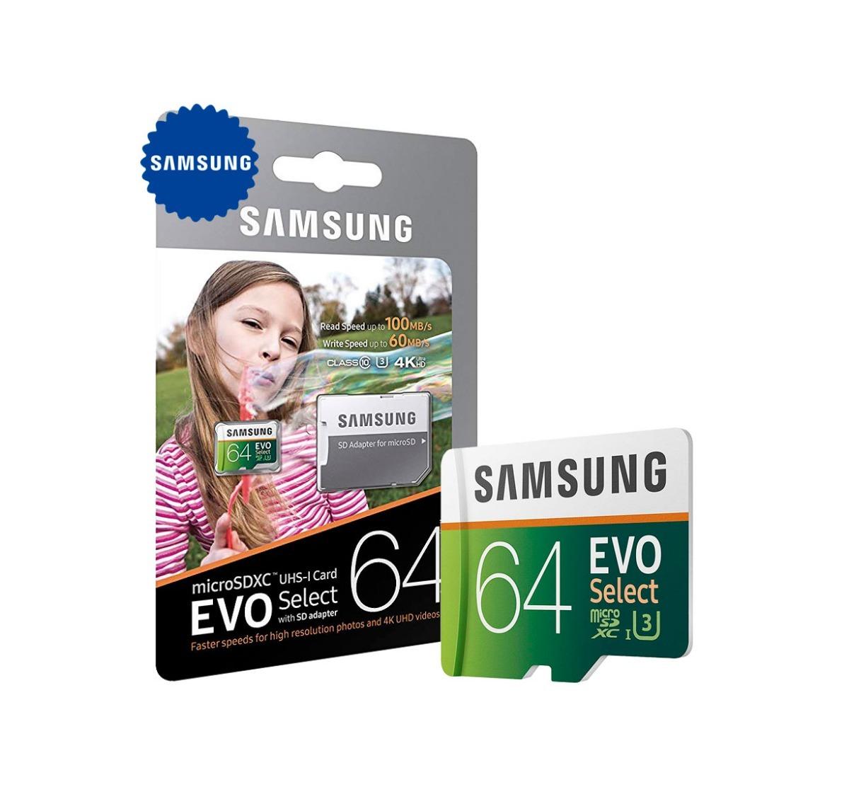 Memoria Micro Sd 64gb Samsung 4k 1080p Para Gopro Hero 5