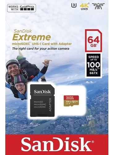 memoria micro sd 64gb sandisk extreme clase 10 100mb/s u3 4k