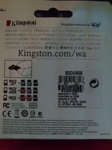 memoria micro sd 8 gb kingston original sellada