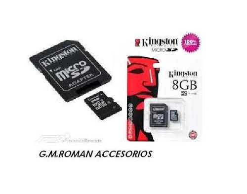 memoria micro sd 8gb kingston con adaptador original