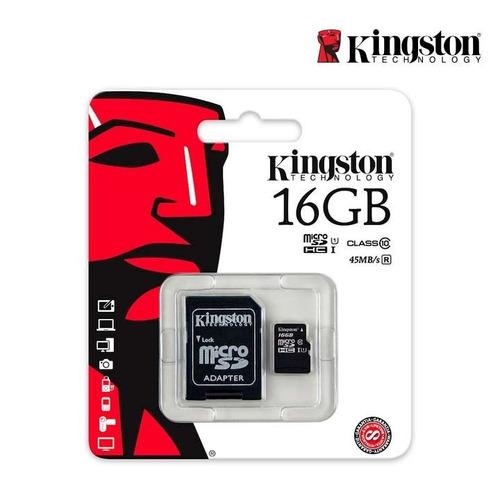 memoria micro sd+adaptador 16 gb kingston clase 10