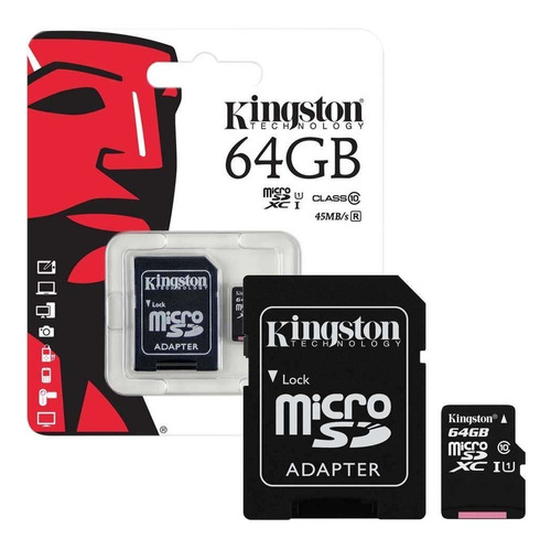 memoria micro sd+adaptador 64 gb kingston clase 10