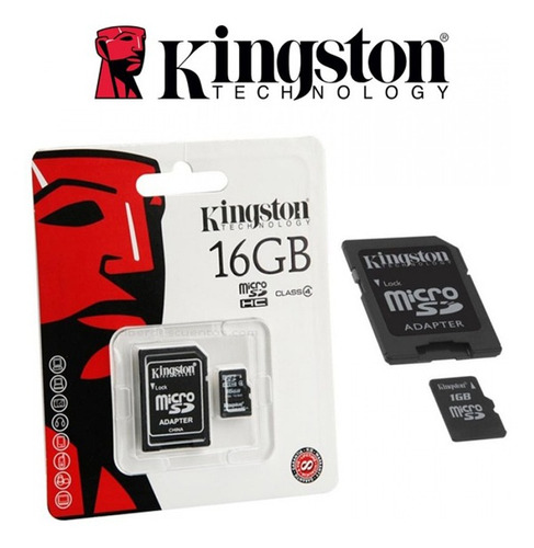 memoria micro sd c/adaptador clase 4 16gb kingston