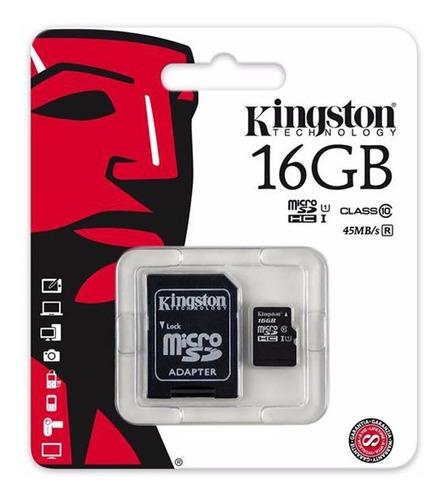 memoria micro sd con adaptador sd kingston 16gb clase 10