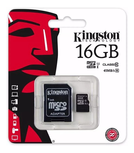memoria micro sd hc 16gb kingston clase 10 con adaptador