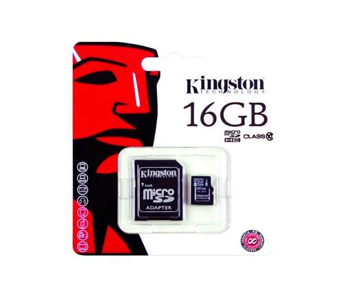 memoria micro sd hc 16gb kingston clase 10 con adaptador