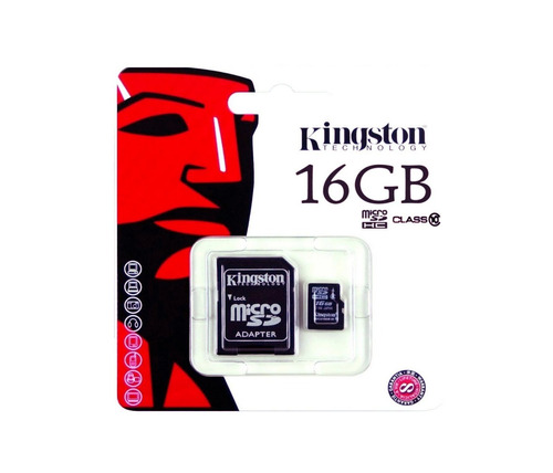 memoria micro sd hc 16gb kingston clase 10 full hd 80mb/s